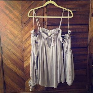 Nice lavender fancy flowing blouse!